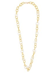 Kenneth Jay Lane Knotted Chain Link Necklace Gold