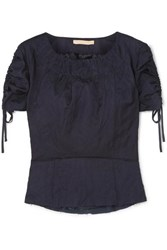 Brock Collection Ruched Grosgrain Trimmed Crinkled Twill Top Navy
