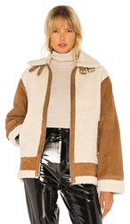 Lamarque Colby Jacket In Brown Cream. Cognac And Ecru