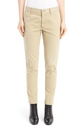 Saint Laurent Women's Rip And Repair Slim Chinos