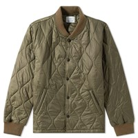 Save Khaki Quilted Nylon Warm Up Bomber Jacket Green