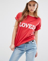 Daisy Street Relaxed T Shirt With Loved Print Red