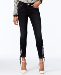 True Religion Lace Up Black Wash Skinny Jeans