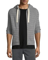 Billy Reid Herringbone Knit Zip Front Hoodie Blknaturl
