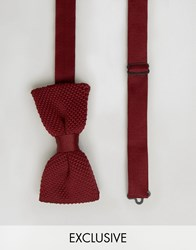 Noose And Monkey Knitted Bow Tie Burgundy Red