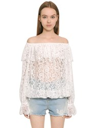 Ermanno Scervino Off The Shoulder Techno Lace Top