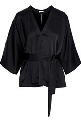Tome Woman Belted Crepe De Chine Top Black