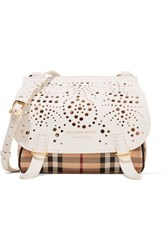 Burberry Perforated Checked Textured Leather Shoulder Bag Off White