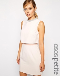 Asos Petite Dress With Embellished Collar Stand Nude