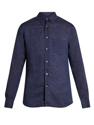 Ermenegildo Zegna Long Sleeved Linen Shirt Navy