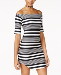 Planet Gold Juniors' Striped Off The Shoulder Bodycon Dress Black White