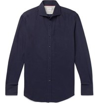 Brunello Cucinelli Slim Fit Cutaway Collar Cotton Twill Shirt Blue