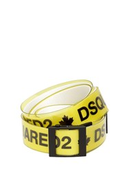 Dsquared 40Mm Rubber And Cotton Canvas Logo Belt Yellow White