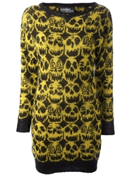 Jeremy Scott Skull Print Dress Yellow And Orange