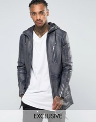 Black Dust Leather Parka Grey