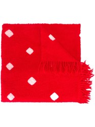 Suzusan Square Patterned Scarf Red
