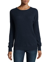 Minnie Rose Cashmere Relaxed Pullover Sweater Navy