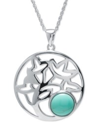 Macy's Manufactured Turquoise Decorative Disc Pendant Necklace In Sterling Silver