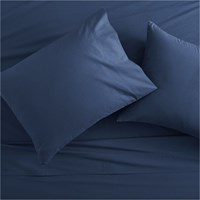 Cb2 Queen Organic Navy Percale Sheet Set