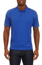 Robert Graham Men's Messenger Pique Polo Heather Blue