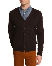 Menlook Label Plain Brown Cardigan
