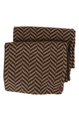 Men's Ben Sherman Reversible Chevron Knit Scarf Brown Coffee