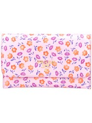 Prada Floral Print Fold Over Wallet Pink Purple