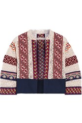 Vanessa Bruno Echem Embroidered Cotton Canvas And Crocheted Jacket Off White