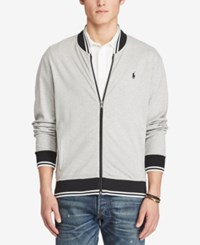 Polo Ralph Lauren Men's Big And Tall Knit Bomber Jacket Gray