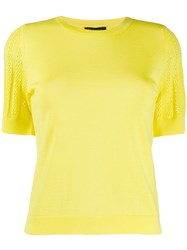 Escada Perforated Sleeve Knitted Top Yellow