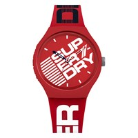 Superdry Men's Urban Extra Large Logo Silicone Strap Watch Red White