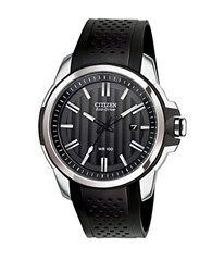 Citizen Eco Drive Stainless Steel Faux Leather Watch Black