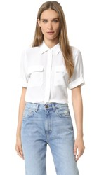 Equipment Short Sleeve Slim Signature Blouse Bright White