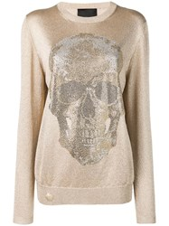 Philipp Plein Embellished Skull Jumper Gold