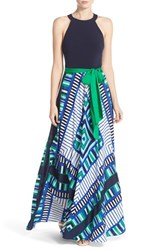 Women's Eliza J Scarf Print Jersey And Crepe De Chine Maxi Dress