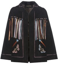 Valentino Metallic Suede Jacket Black