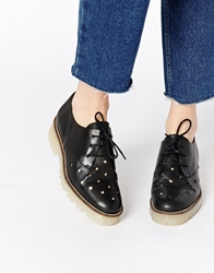 Tba To Be Announced Lacey 2 Punched Lace Up Flat Shoes Blackleatherpunch