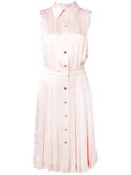 Chanel Vintage Pleated Shirt Dress Pink Purple