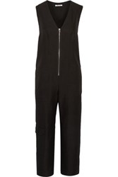 Alexander Wang T By Cropped Twill Jumpsuit Black