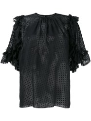 Dolce And Gabbana Sheer Polka Dot Ruffle Blouse Black