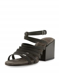 Brunello Cucinelli Strappy Monili Block Heel Sandal Dark Gray