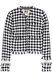 Msgm Organza Paneled Gingham Tweed Jacket Black