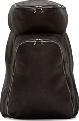 Julius Black Nubuck Oblong Backpack