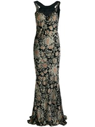 John Galliano Vintage Floral Print Gown Black