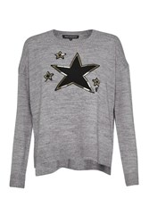 French Connection Lucky Star Knits Crew Neck Jumper Grey