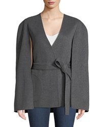 Kobi Halperin Maria Wool Blend Cape Sleeve Coat Charcoal Grey