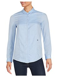 The Kooples Long Sleeve Peter Pan Collar Shirt Blue