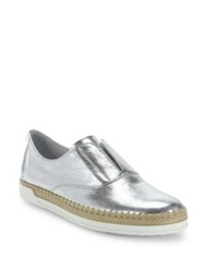 Tod's Leather Espadrille Slip On Sneakers Silver