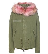 Mr And Mrs Italy Mini Fur Trimmed Cotton Parka Green