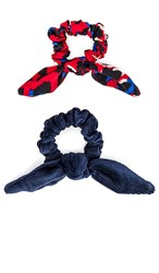 Lele Sadoughi Rabbit Ear Scrunchie In Red. Dragon Blue And Red Leopard